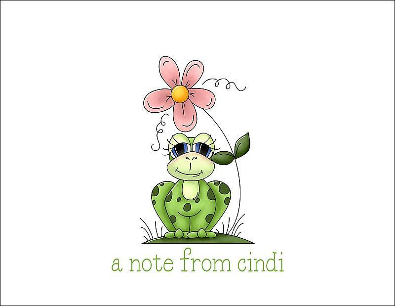 Personalized GIRL FROG FROGGY Note Cards STATIONERY