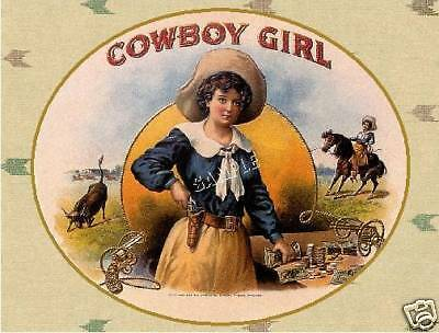 VINTAGE COWBOY GIRL WESTERN COWGIRL RODEO CANVAS ART