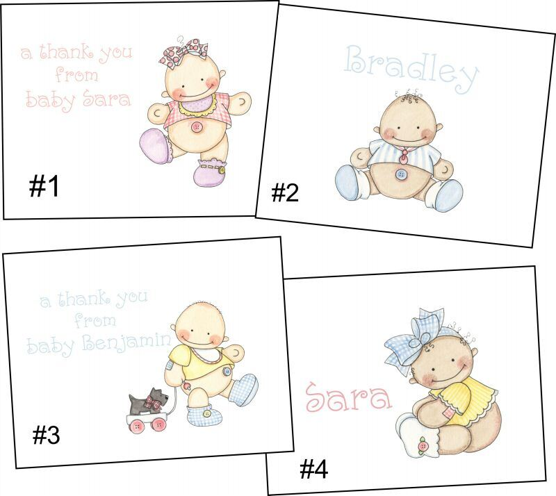 Personalized Belly Button Baby Note Cards Stationery